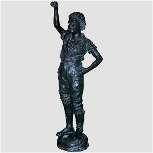 19th c. French Life-size Bronze Figure of a Boy, in the