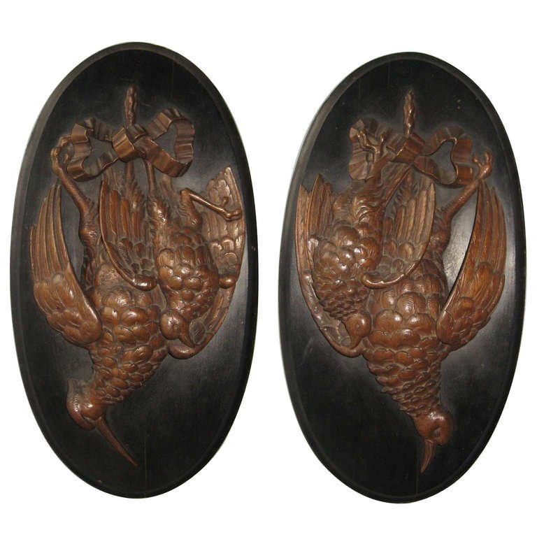 Pair of Carved Natur Mort, Paul Comolera attributed