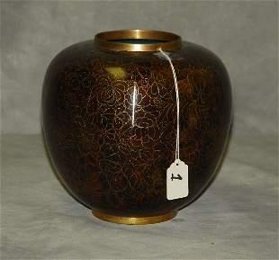 "Antique Chinese cloisonne ginger jar. H:9"" D:8"""