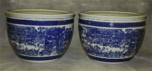 Pair Chinese blue and white porcelain fish bowls both