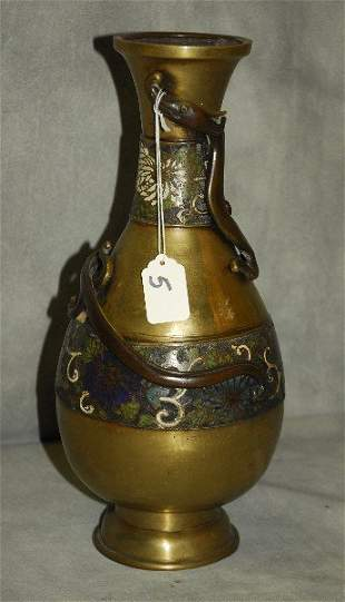 """Antique Chinese bronze and cloisonne vase. H:14"""""""
