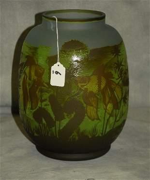 "Art glass vase signed . H:11.75"" D:8"""