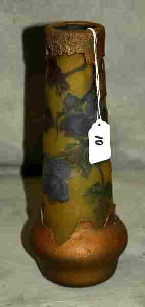 "Art glass vase signed Galle. H:10.75"""
