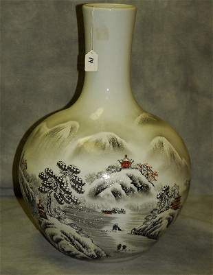 Chinese porcelain vase with snow scene and caligraphy