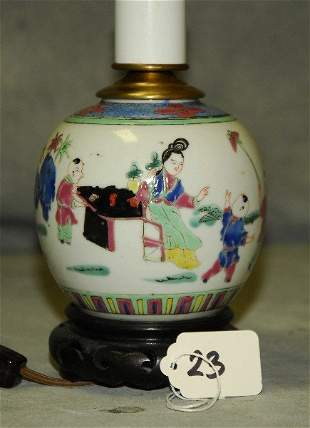Antique Chinese porcelain ginger jar mounted as a lamp.