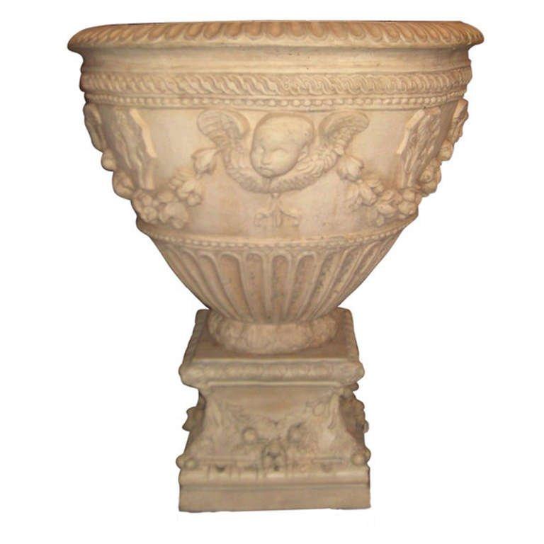 "Italian terracotta two-piece planter  H: 35 25"" D: 30"""