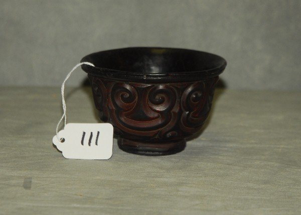 """18th c  Chinese 'TIXI' lacquer bowl 2 75"""" x 4 25"""""""