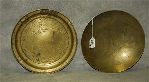 Two Chinese etched brass plates, underside marked China