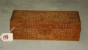 """Antique Chinese canton carved wood box. H:3"""" L:9.5"""""""