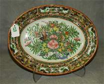 Antique Chinese rose canton butterfly porcelain platter