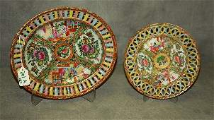 2 antique Chinese rose medallion porcelain reticulated