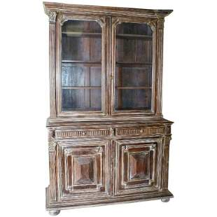 . Continental 2-part partial washed wood cabinet .