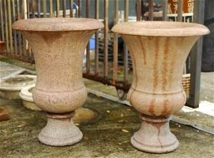 . Pair of antique pink granite Campana form cups.