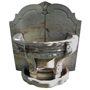 . Large 18th C carved rouge royale marble fountain.