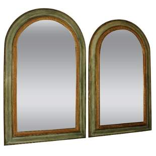 . Pair of Continental carved arch molded and painted