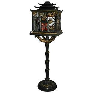 . Chinese export carved and lacquered bird cage. H