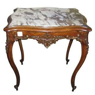 """. 19th C Louis XV marble top center table. H:29.5"""""""