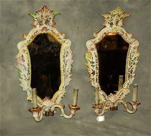 . Pair antique French Faience porcelain girondole