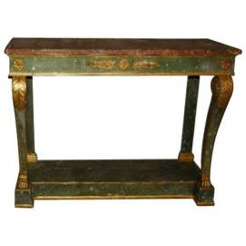 30. 18th C Italian painted and parcel gilt marble top