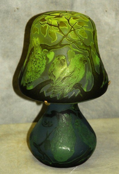 258. Signed Galle cameo art glass vase with birds in