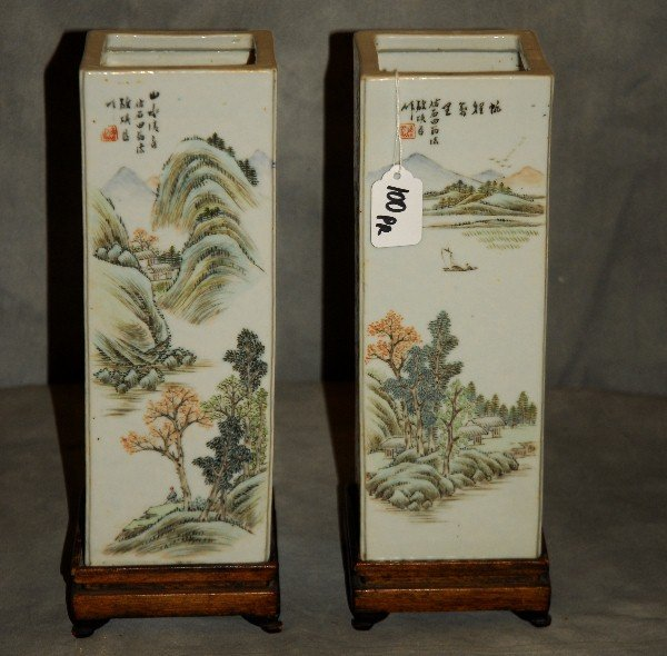 Pair of 19th c. Chinese porcelain square-form vases