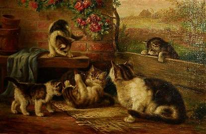 August Laux, NY 1847-1921, Cat & Kittens, signed lower