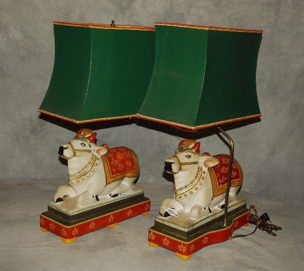 Pair of polychrome hardstone figures of reclining