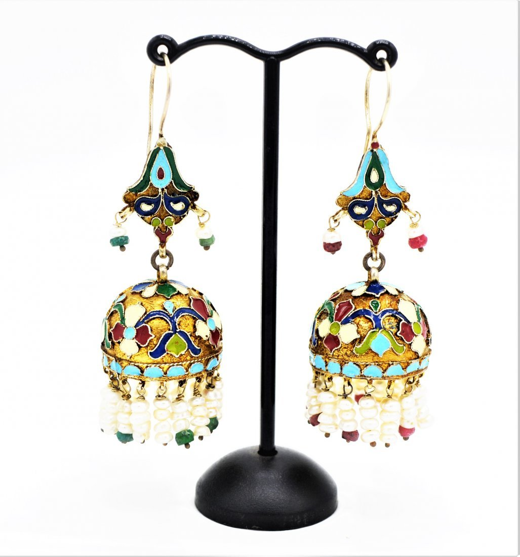 RARE PAIR OF ANTIQUE MUGHAL STYLE ENAMEL SILVER EARRING