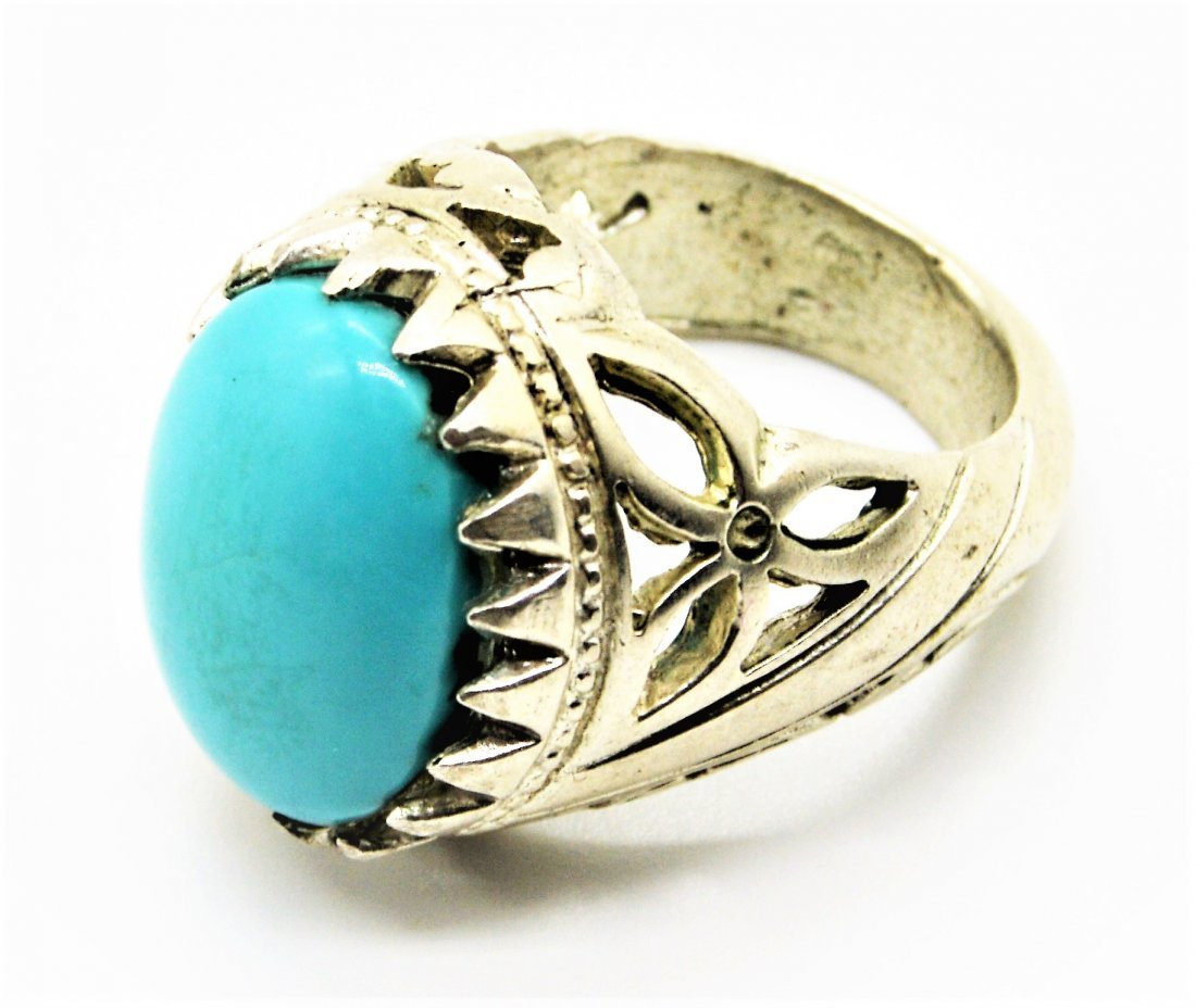 A Rare Persian Natural Turquoise Sterling Silver Ring