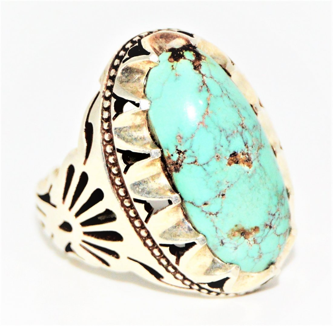 A Rare Vintage Persian Natural Turquoise Silver Ring
