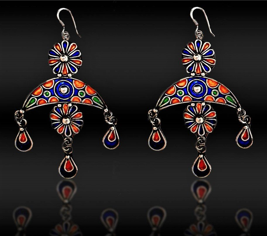 A Pair Of Unique Moroccan/Indian Enamel Silver Earrings