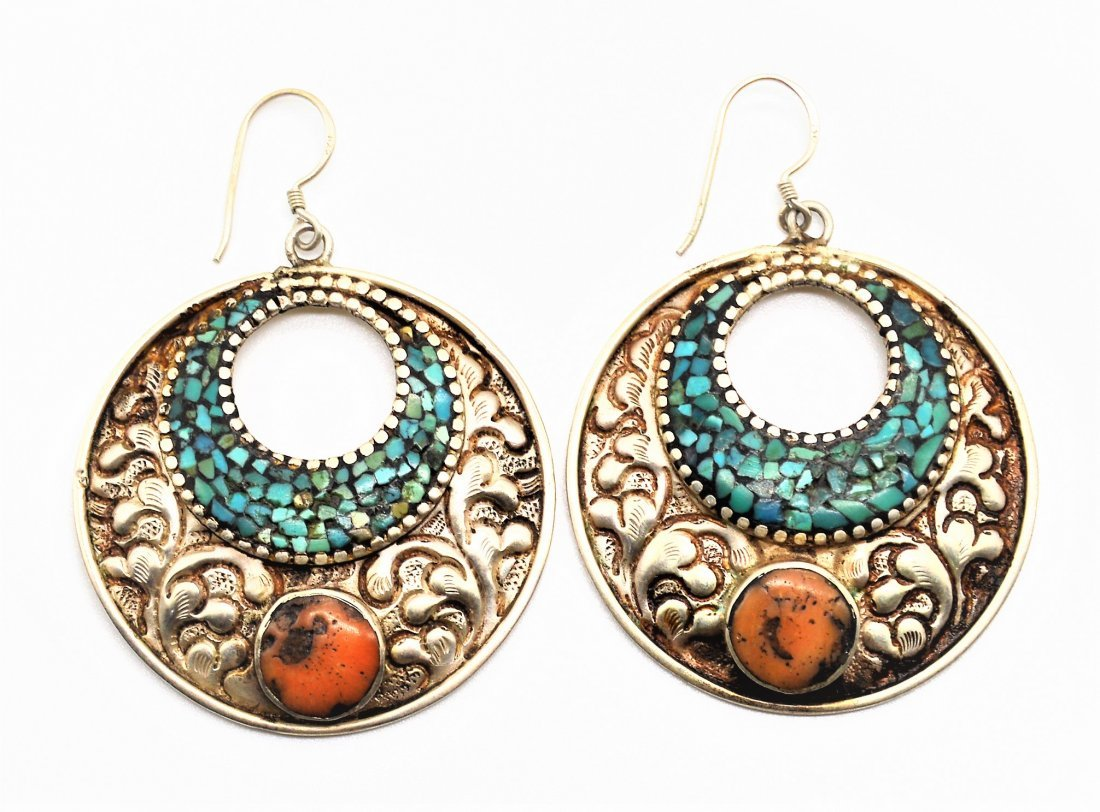 A Pair Of Round Shaped Bukhara/Morocco Silver Earrings