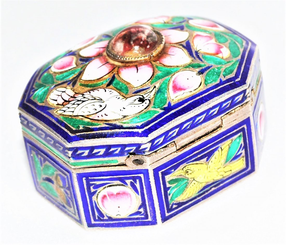 Antique Mughal Style Enamel Silver Box Lucknow orJaipur