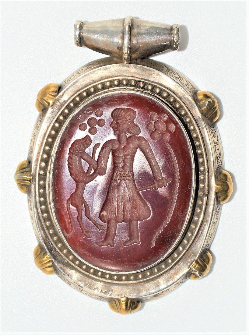 Antique Sasanian Style Persian Agate Silver Pendant
