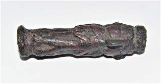 VERY RARE ANCIENT ACHAEMENID BRONZE MACE WITH FIGURES
