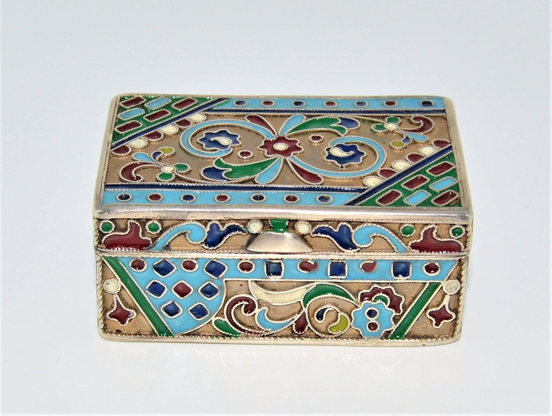 A RARE ANTIQUE RUSSIAN ENAMEL SILVER BOX