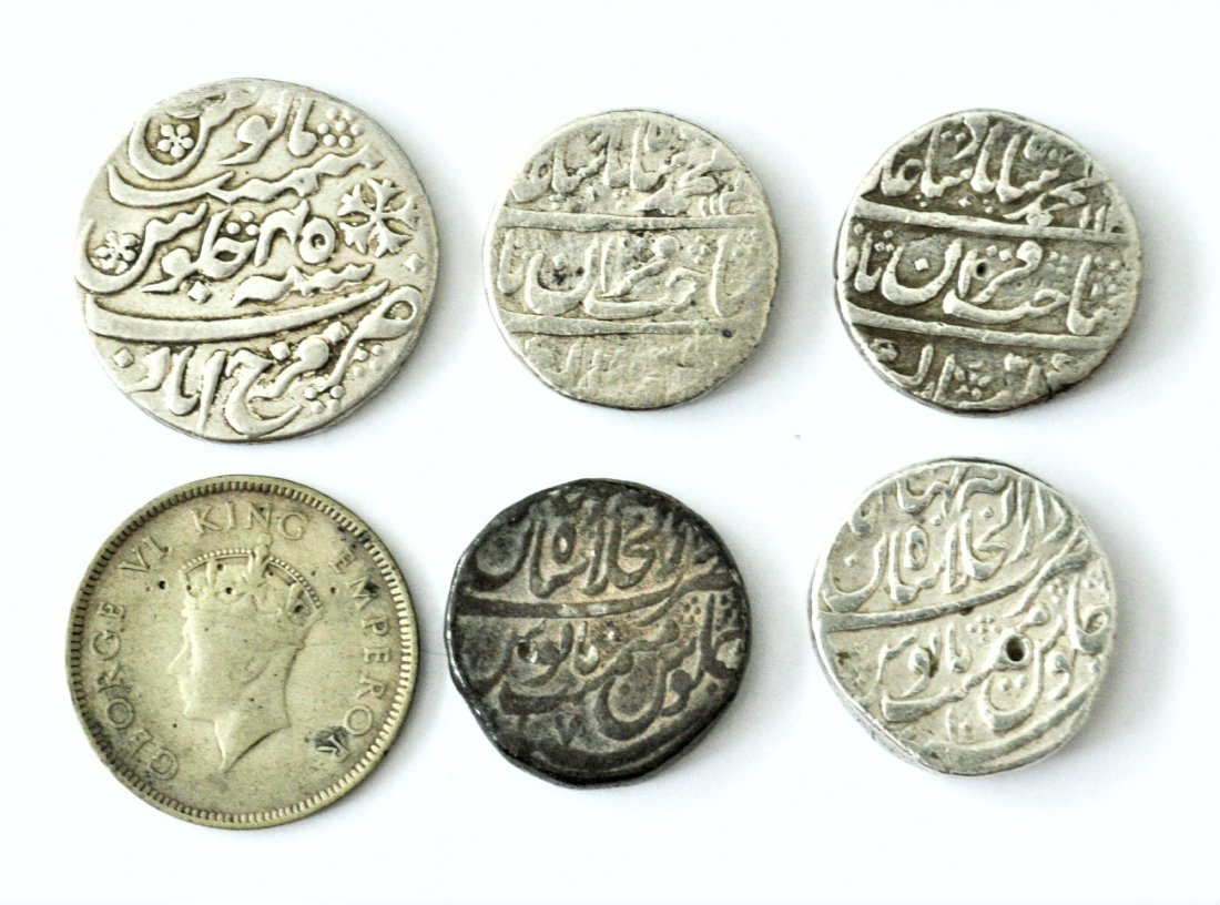 LOT OF 6 MUGHAL EMPIRE & BRITISH INDIAN SILVER COINS