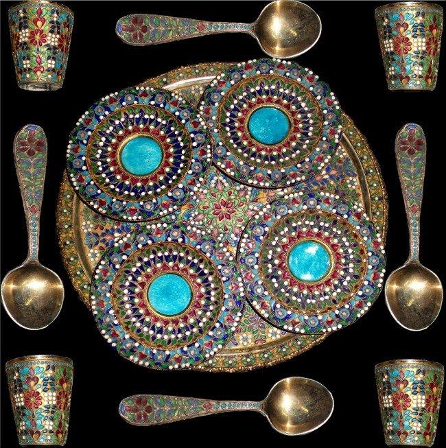 23: A Persian Enamel silver Set