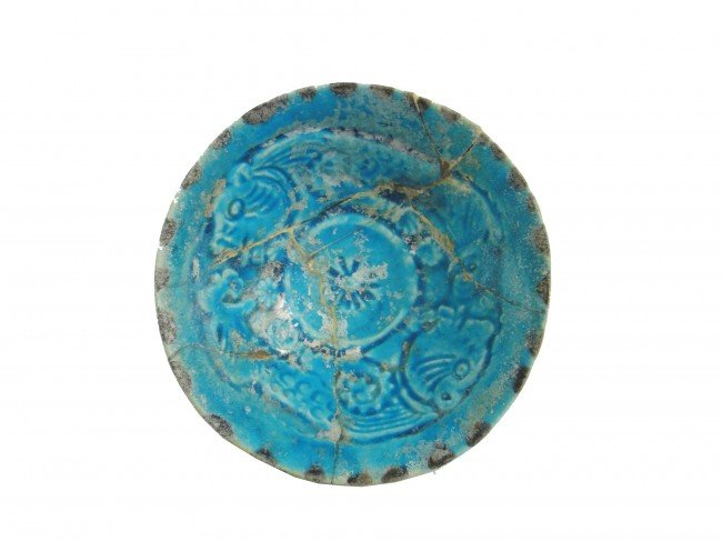 13: A BAMIYAN TURQUOISE GLAZED  POTTERY BOWL LATE 12TH