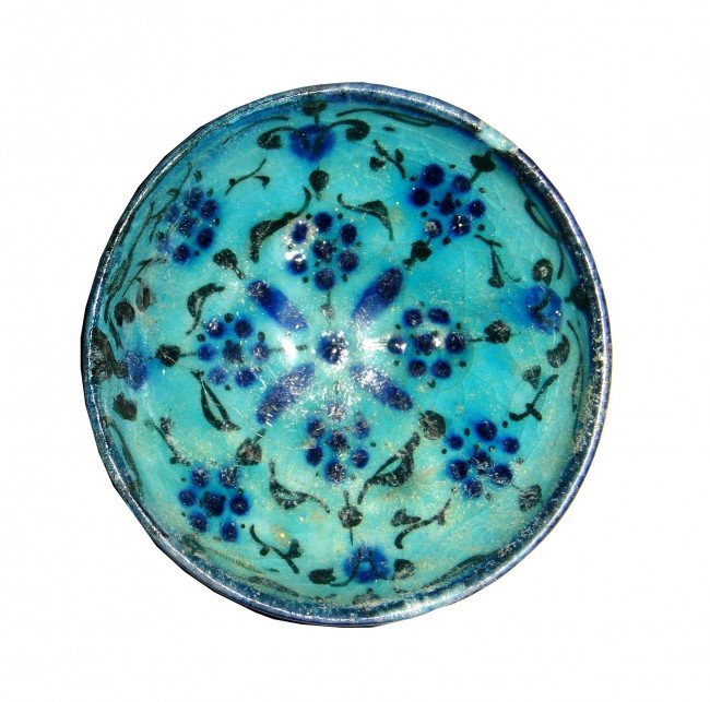 14: A SMALL COBALT GLAZED KASHAN TURQUOISE BOWL  CENTRA