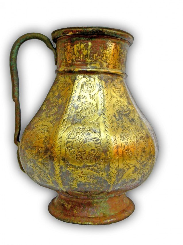 22: A KHORASSAN OR SELJUKE BRONZE  JUG , PERSIA 12TH CE