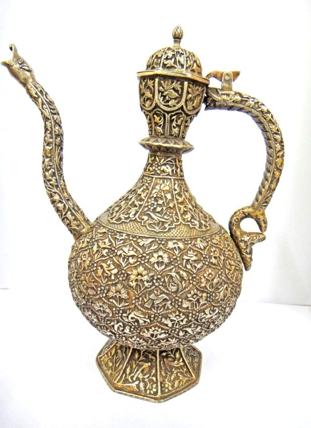 5: A BEAUTIFUL SUPERB SILVER EWER 17TH CENTURY PROBABLY
