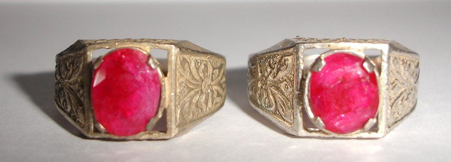 24: A Pair of  Persian silver Ruby ring 19th century