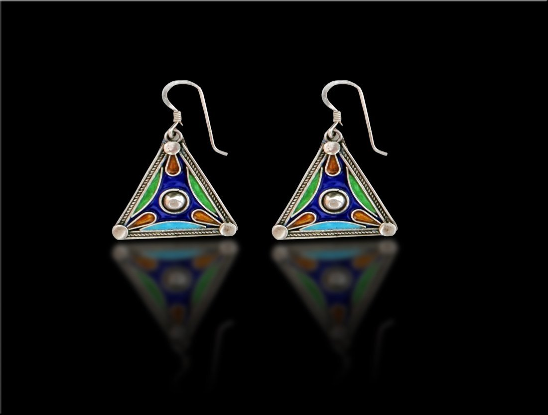 A Pair of Triangle Shaped Morcco Enamel Silver Earring