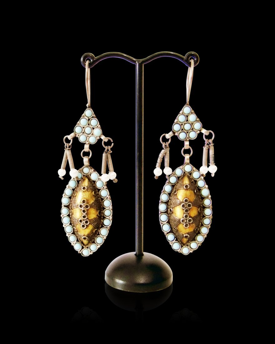 A Pair Of Bukhara/Mughal Silver Earring 19th Century