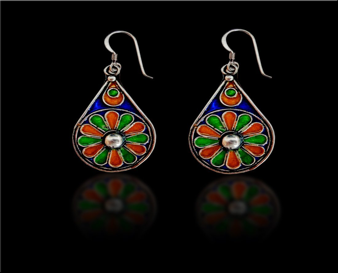 A Pair Of Moroccan/Turkish Enamel Silver Earrings