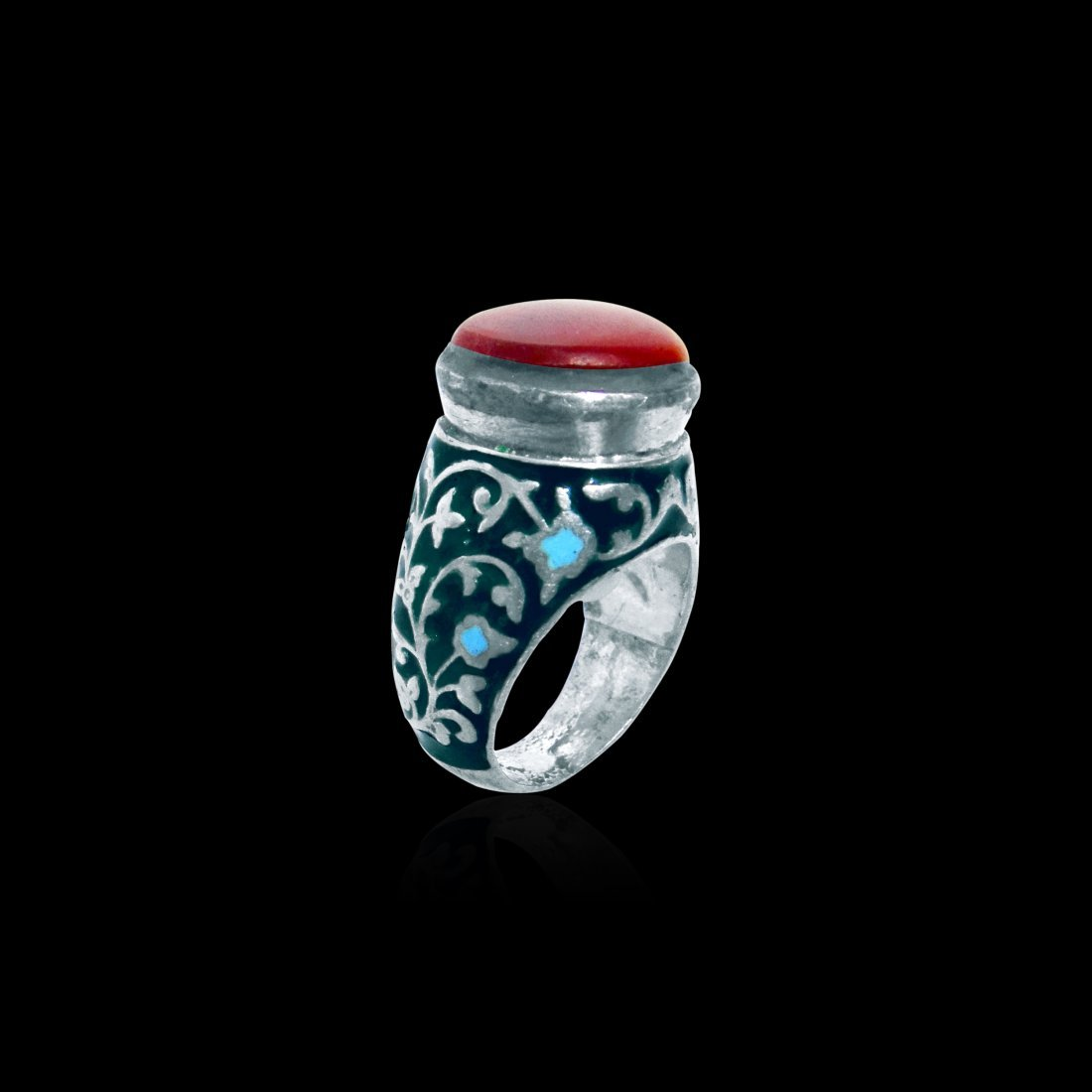 A Persian Carnelian Silver Enamel Ring Late 19th Centur