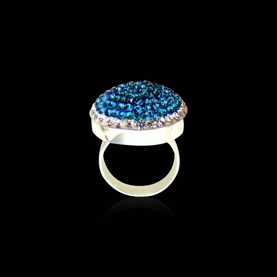 A Zircon & Colored Stones Sterling Silver Ring