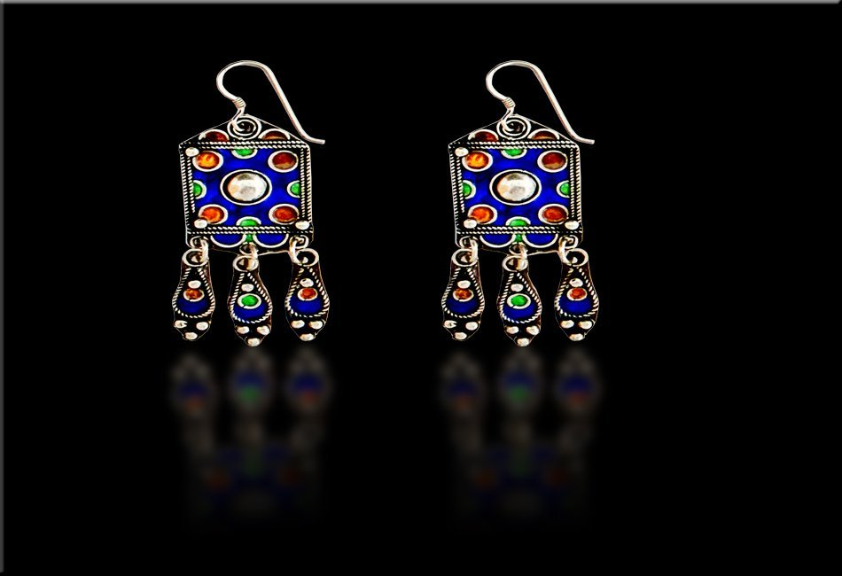 A Pair Of Morocco Enamel Silver Earrings