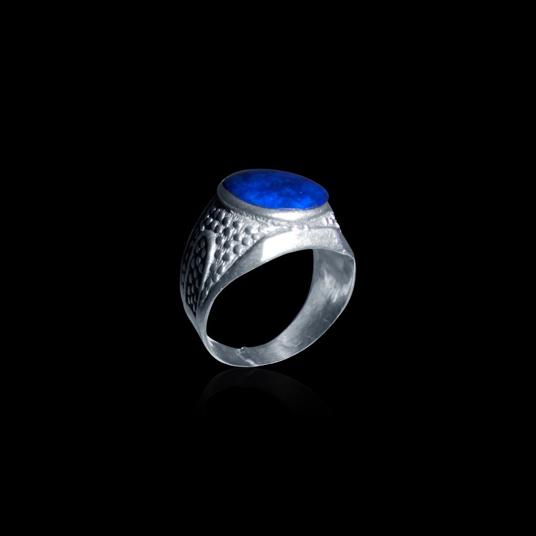 A Persian Natural Lapis Lazuli Sterling Silver Ring